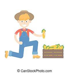 blauwe , geklede, farmer, maïs, hoedje, jumpsuit