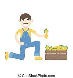 blauwe , geklede, farmer, maïs, mustache, jumpsuit