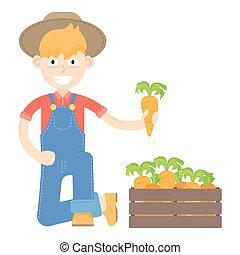 blauwe , geklede, wortels, farmer, hoedje, jumpsuit
