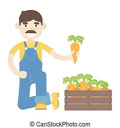 blauwe , geklede, wortels, farmer, mustache, jumpsuit