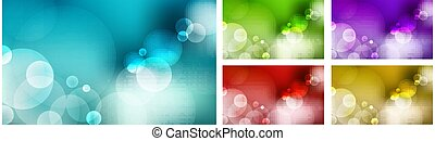 blauwe hemel, paarse , set, natuur, groene achtergrond, bokeh, rood, licht, effect., gele, gouden, vaag, abstract