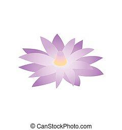 blauwe , isometric, lotus, stijl, egypte, pictogram, 3d