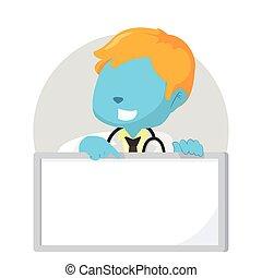 blauwe , jongen, arts, vasthouden, meldingsbord
