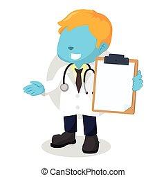 blauwe , jongen, klembord, vasthouden, arts