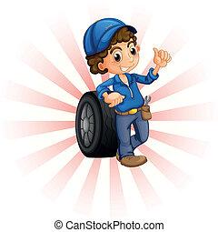 blauwe , jongen, pet, wiel, voorkant