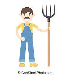 blauwe , jumpsuit, geklede, hooivork, stander, farmer, mustache