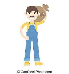 blauwe , jumpsuit, geklede, houdt, zak, farmer, mustache