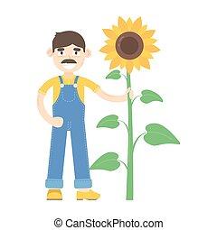 blauwe , jumpsuit, over, zonnebloem, geklede, stander, farmer, mustache