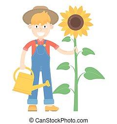 blauwe , jumpsuit, over, zonnebloem, geklede, watering, stander, farmer, hoedje, groenteblik