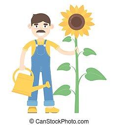 blauwe , jumpsuit, over, zonnebloem, geklede, watering, stander, farmer, mustache, groenteblik