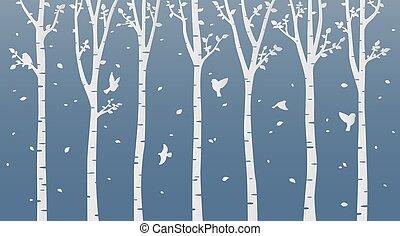 blauwe , kunst, boompje, papier, achtergrond, berk