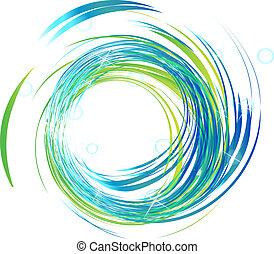 blauwe lichten, helder, logo, golven