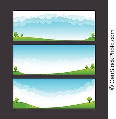 blauwe , natuur, hemel, illustratie, element, akker, 002, vector, groene, mal, spandoek, wolk