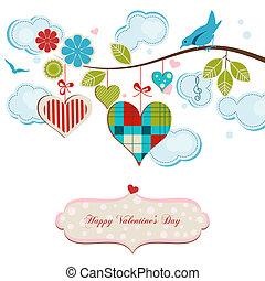 blauwe , romantische, kaart, groet, hartjes, vogels