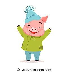 blauwe , schattig, dier, gekke , jas, warme, illustratie, varken, gebreid, vector, groene hoed, menselijk, geklede, vrolijke , spotprent, kleren