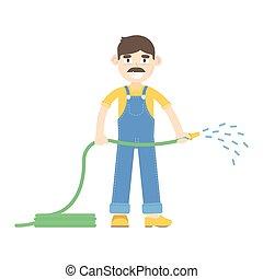 blauwe , slangen, geklede, watering, farmer, mustache, jumpsuit