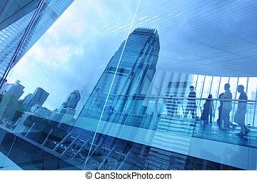 blauwe , stad, achtergrond, glas