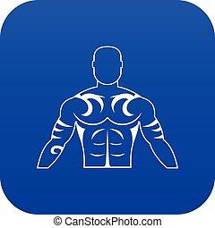 blauwe , tatoeëren, gespierd, digitale man, pictogram