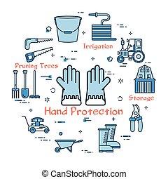 blauwe , tuinieren, bescherming, -, hand