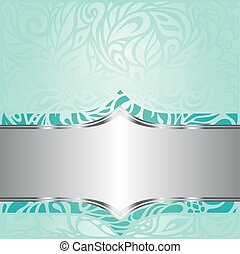 blauwe , turkoois, ouderwetse , groene achtergrond, uitnodiging, floral ontwerpen