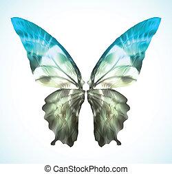 blauwe , vibrant, vector, vlinder, isolated.