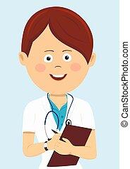 blauwe , vrouwtje arts, writting, vrijstaand, uniform, klembord, stethoscope, achtergrond