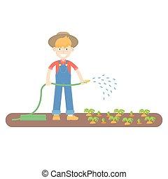 blauwe , wortels, geklede, watering, slangen, farmer, hoedje, jumpsuit