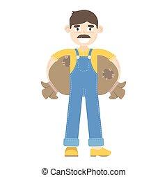 blauwe , zakken, geklede, houdt, jumpsuit, farmer, mustache