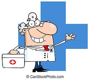 blauwe , zwaaiende , op, kruis, arts