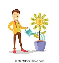bloem, geld, watering, zakenman, wite kaukasiër
