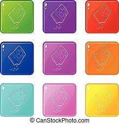 bloem, iconen, kleur, verzameling zak, set, zaden, negen