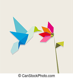 bloem, kolibrie, origami, witte