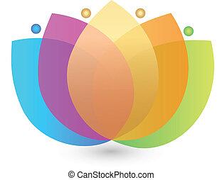 bloem, veelkleurig, logo, lotus