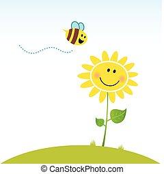 bloem, vrolijke , lente, bij
