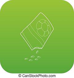 bloem, zak, vector, groene, zaden, pictogram