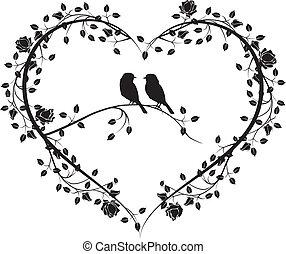 bloemen, 4, hart, vogels