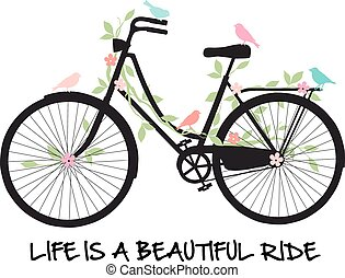 bloemen, fiets, vogels