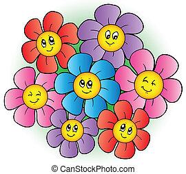 bloemen, groep, spotprent