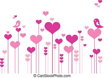 bloemen, hart, vogels