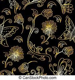 bloemen, model, floral, seamless, vlinder