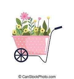 bloemen, mooi, kruiwagen, tuin