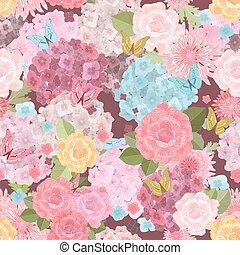 bloemen, ouderwetse , seamless, textuur, butterflies., mooi en gracieus, fl