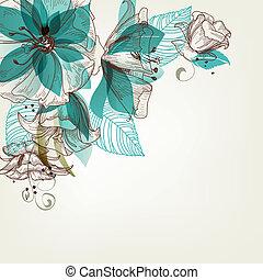 bloemen, vector, retro, illustratie
