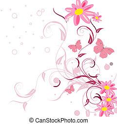 bloemenpatronen, vlinder