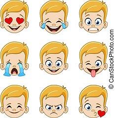 blonde , blauw gezicht, jongen, eyes, uitdrukkingen, emoji