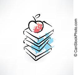 boek, grunge, appel, pictogram