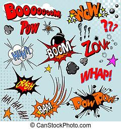 boek, ontploffing, komisch