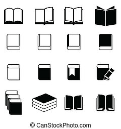 boek, set, pictogram