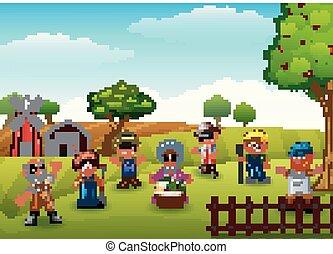 boerderij, groep, tuinman, landbouwers