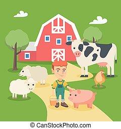 boerderij, jongen, weinig; niet zo(veel), kaukasisch, animals.